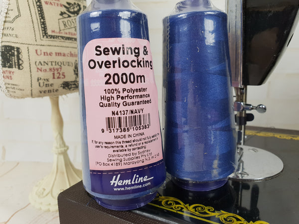 Hemline Overlocker thread, navy, 2000M - clearance