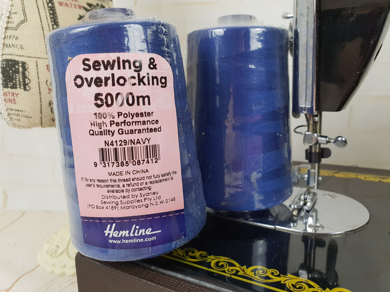 Hemline Overlocker thread, navy, 5000M - clearance