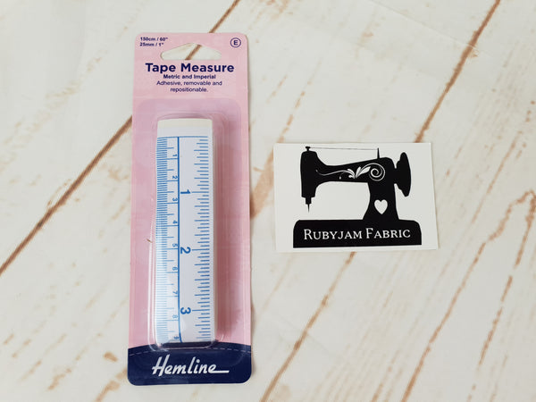 Hemline Adhesive Tape Measure - Removable and Repositionable