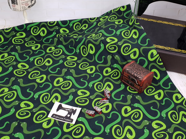 Tree Snakes - cotton lycra - 150cm wide