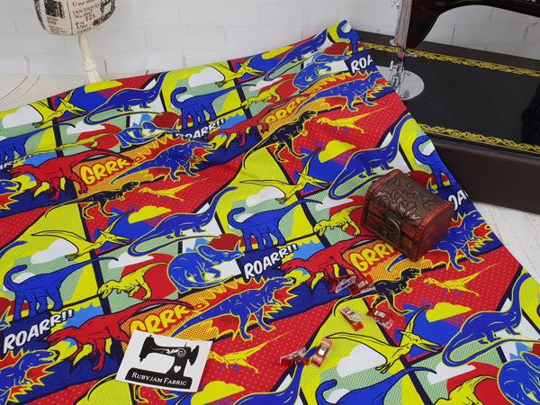 Dinosaurs - cotton lycra - 150cm wide
