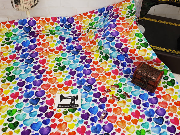 Watercolour Rainbow Hearts - cotton lycra - 150cm wide