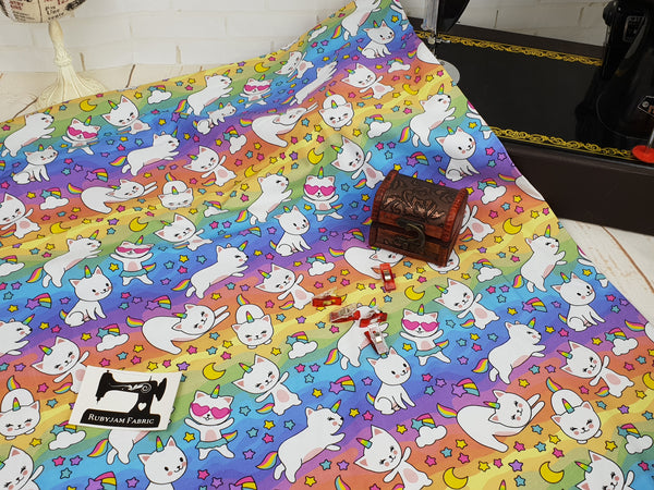 Unicorn Cats - cotton lycra - 150cm wide