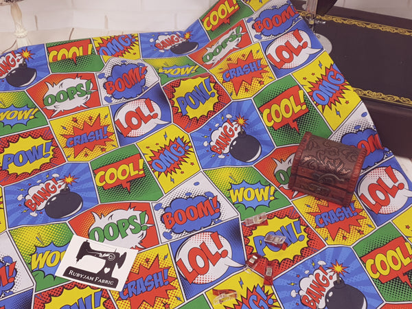 Comic Book - cotton lycra - 150cm wide