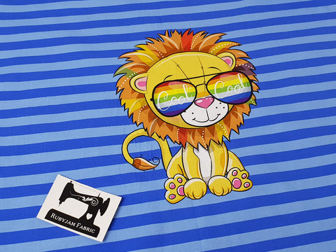 Lion Blue Stripes - Panel