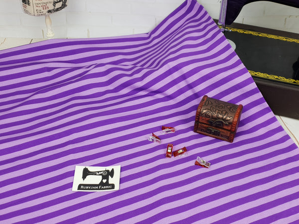 Purple Stripes - cotton lycra - 150cm wide