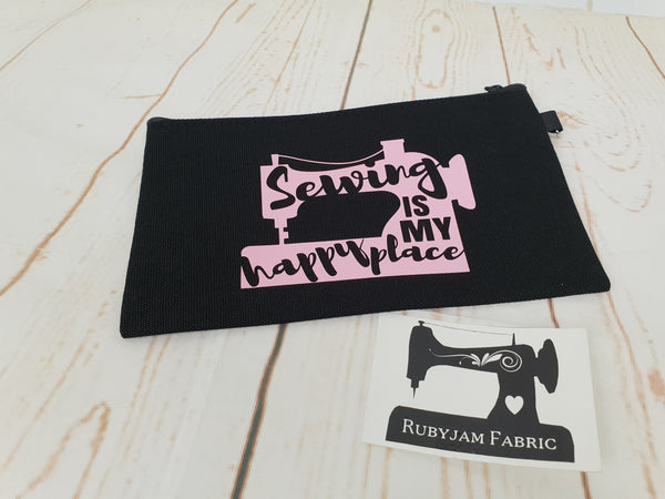 Happy Place - Black - Pink - Zippered Case