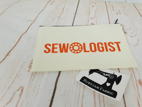 Sewologist - Natural - Orange - Zippered Case