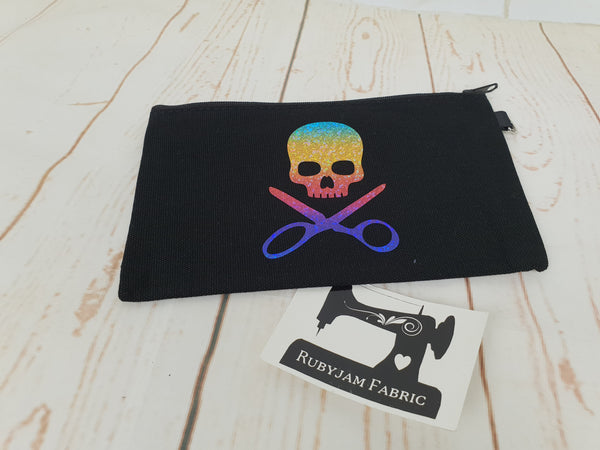 Skull Scissors - Black - Rainbow - Zippered Case