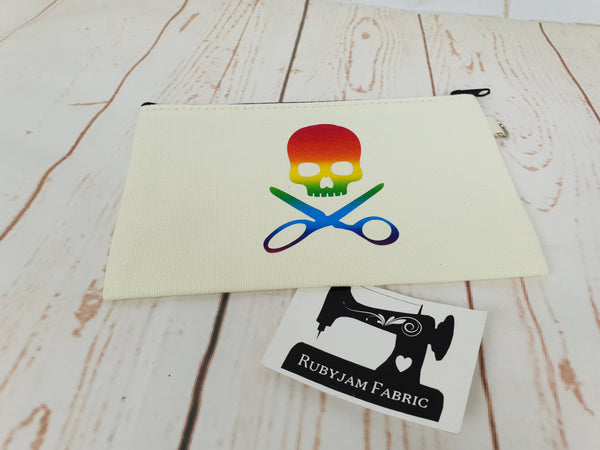 Skull Scissors - Natural - Rainbow - Zippered Case