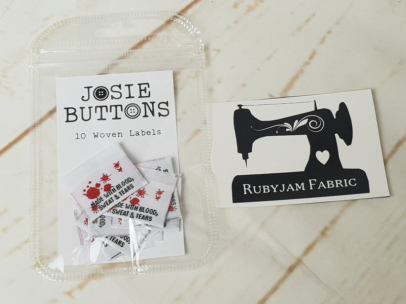 Made With Blood Sweat and Tears - Labels by Josie Buttons