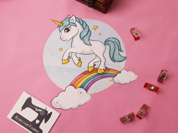 Unicorn on a Rainbow - PINK - Panels On Demand