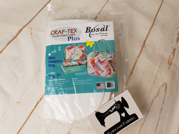 "Bosal Craf-Tex Plus Double-Sided Fusible Stabiliser - Mini Poppins Bag - 2 pieces 9"" x 7"" - clearance"