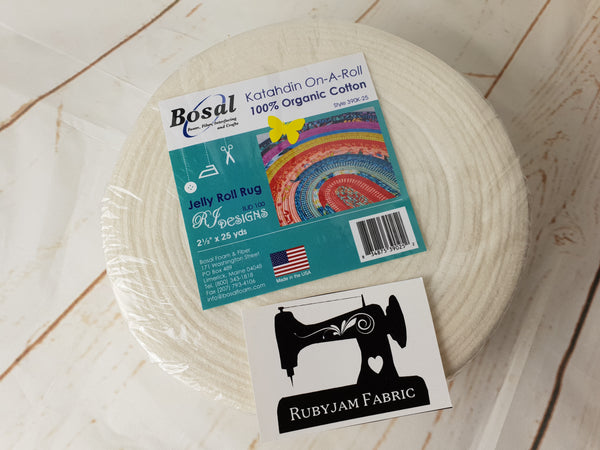 "Bosal Katahdin On-A-Roll 100% Organic Cotton Batting 2.5""x25yd - jelly roll rugs - clearance"