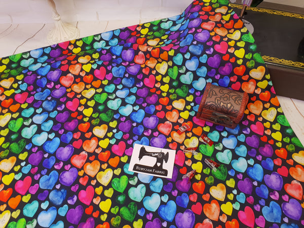 Watercolour Rainbow Hearts BLACK - cotton lycra - 150cm wide