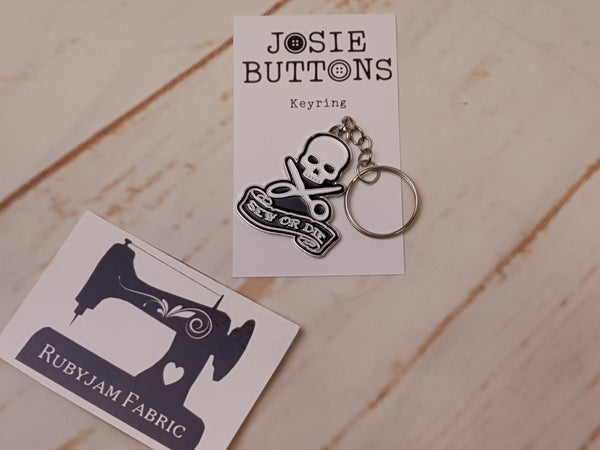 Sew or Die - Enamel Keyring - by Josie Buttons