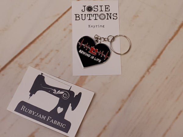 Sewing is Life - Enamel Keyring - by Josie Buttons