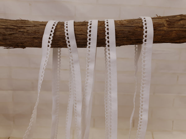 1M WHITE Picot Elastic (Approx 10mm wide)