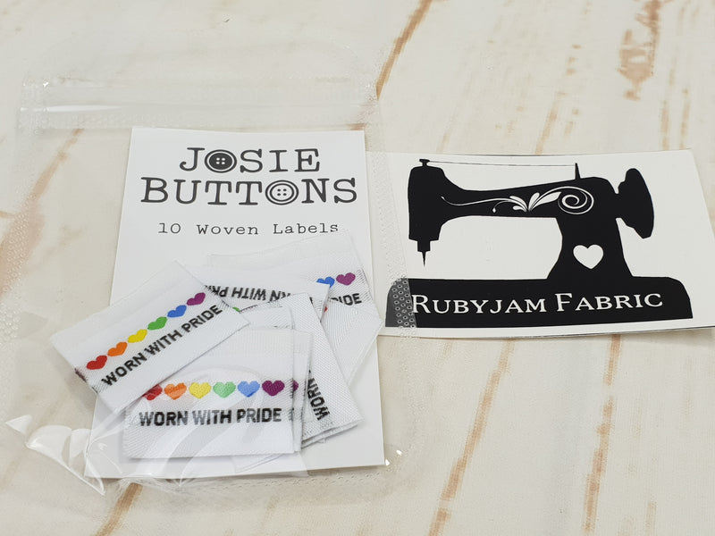 Worn With Pride (Rainbow Hearts) - Labels by Josie Buttons