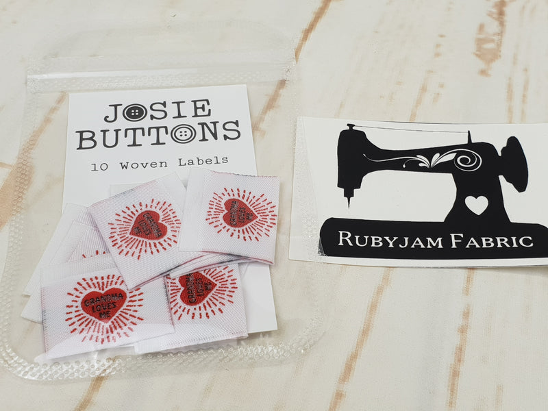 Grandma Loves Me (heart) - Labels by Josie Buttons