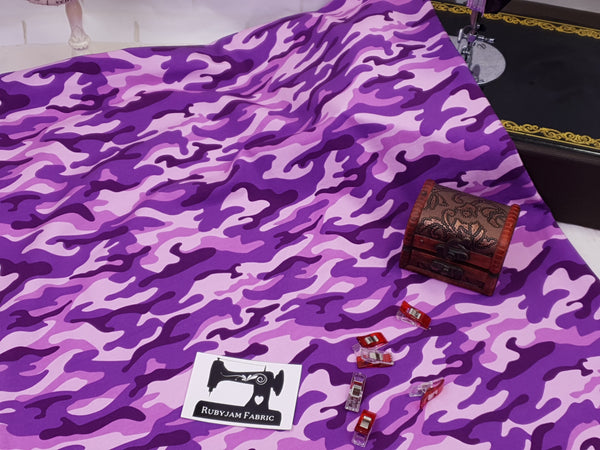 Camouflage Purple/Pink - cotton lycra - 150cm wide
