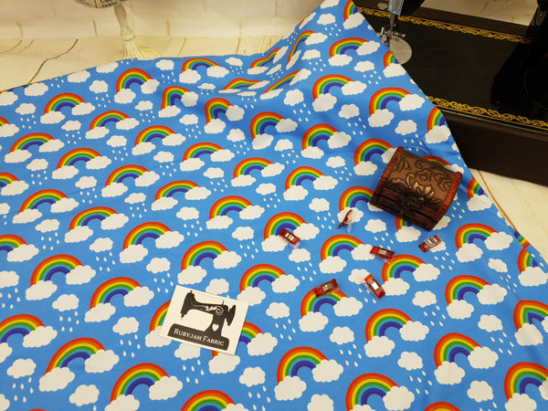 Little Rainbows - cotton lycra - 150cm wide