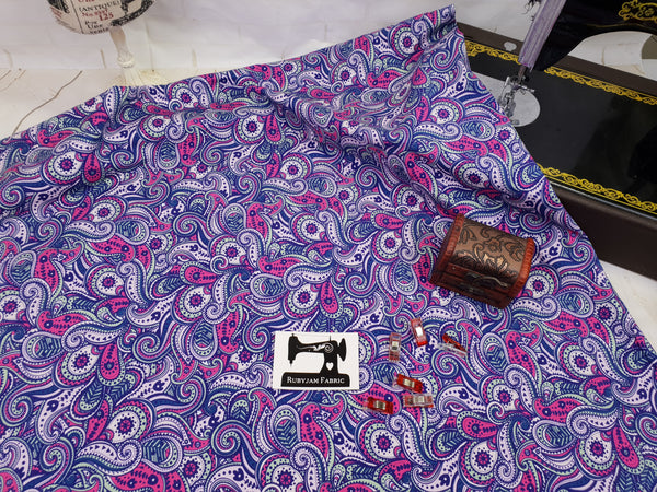 Purple Paisley - cotton lycra - 150cm wide