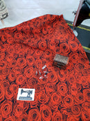 Red Roses - cotton lycra - 150cm wide