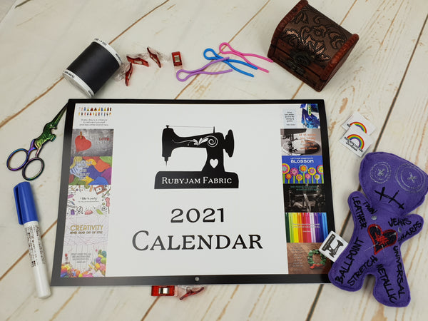 Rubyjam Fabric 2021 Wall Calendar - LIMITED EDITION - clearance