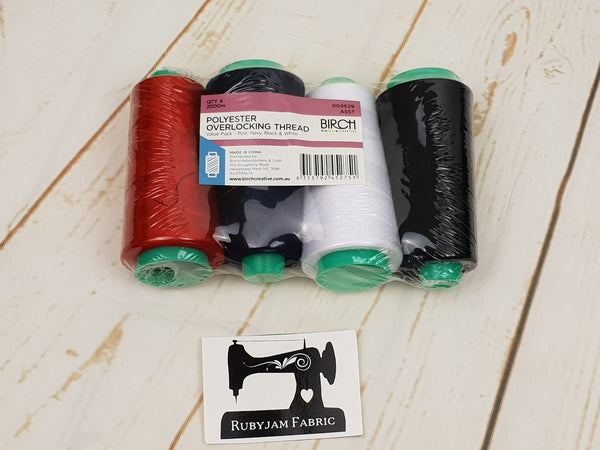 4 pack Birch Overlocker thread, mixed colours, 2000M per spool - clearance