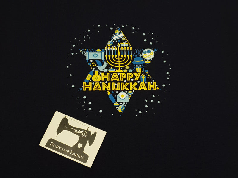 Happy Hanukkah Star - NAVY - Panels On Demand