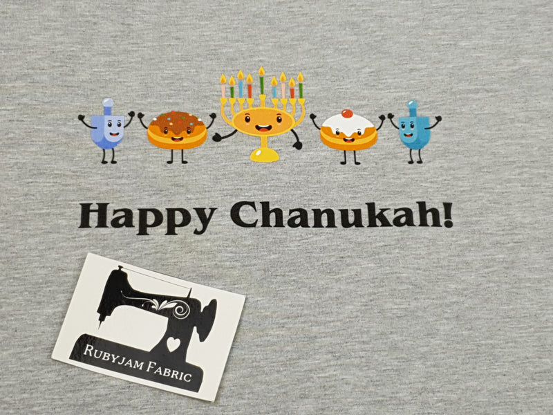 Happy Chanukah Food - HEATHER GREY - Panels On Demand