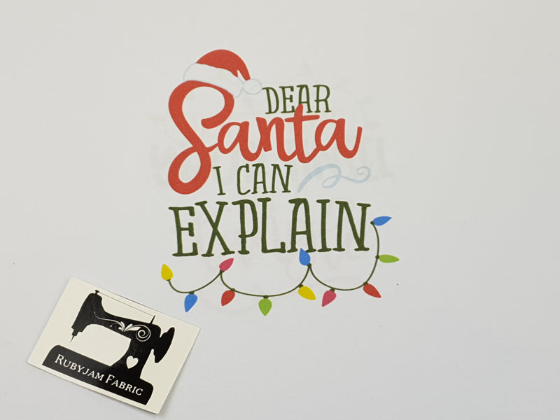 Dear Santa I Can Explain - WHITE - Panels On Demand