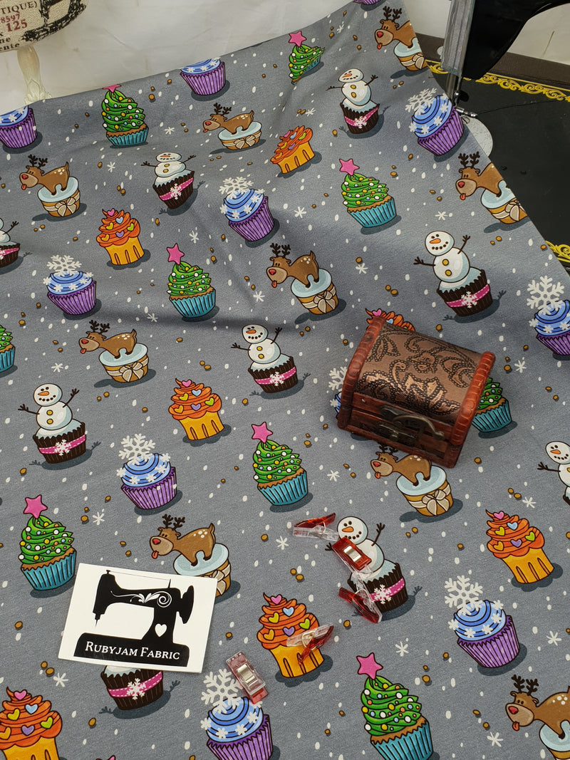 Christmas Cupcakes - cotton lycra - 150cm wide