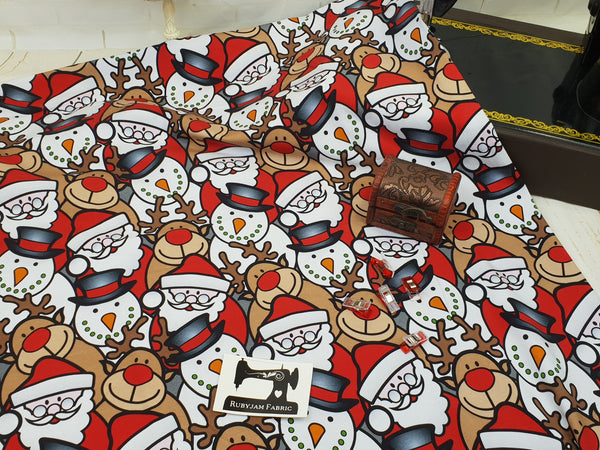 Christmas Characters - cotton lycra - 150cm wide - clearance