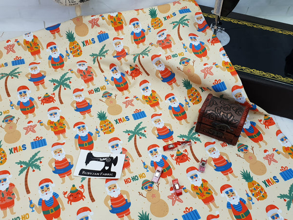 Christmas Beach Santa - cotton lycra - 150cm wide - clearance