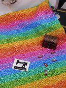 Rainbow Faux Glitter - cotton lycra - 150cm wide