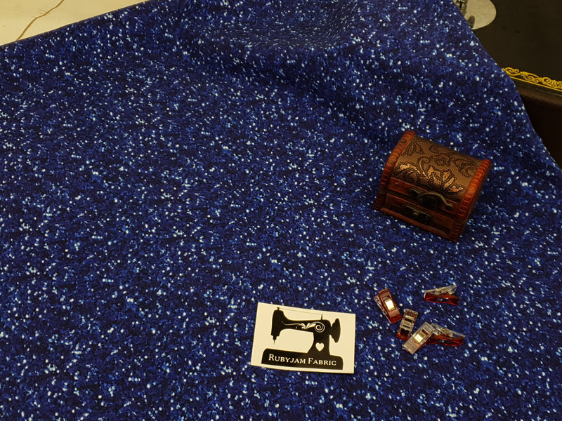Dark Blue Faux Glitter - cotton lycra - 150cm wide