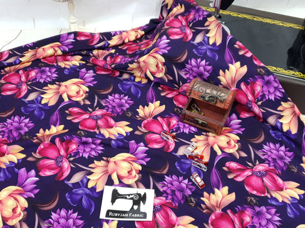 Purple Floral - bamboo lycra - 150cm wide