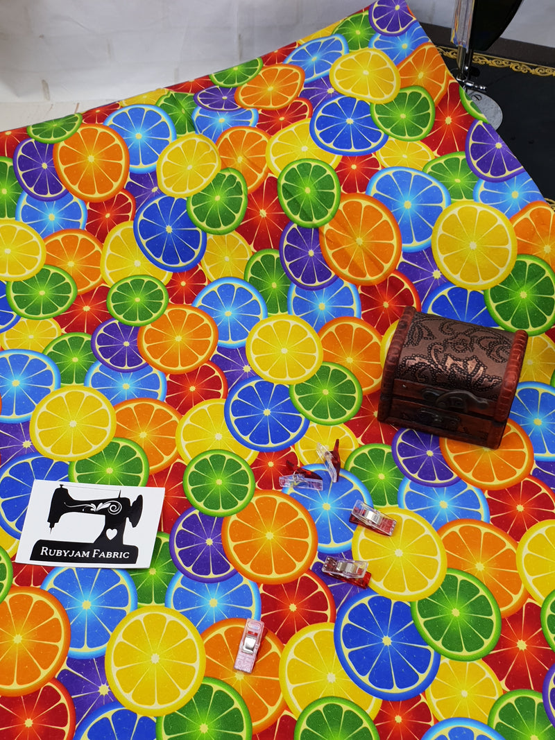 Bright Fruit - cotton lycra - 150cm wide