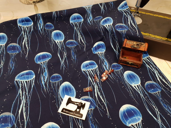 Jellyfish Blue - cotton lycra - 150cm wide