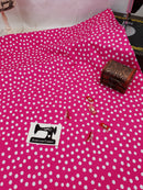 White Polka Dots on Pink - cotton lycra - 150cm wide