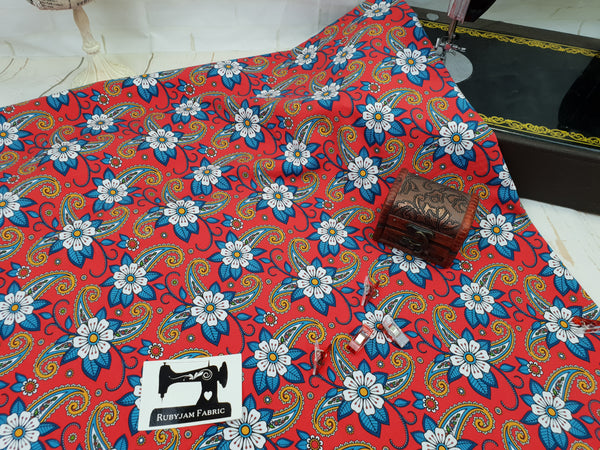 Red Paisley Flowers - cotton lycra - 150cm wide