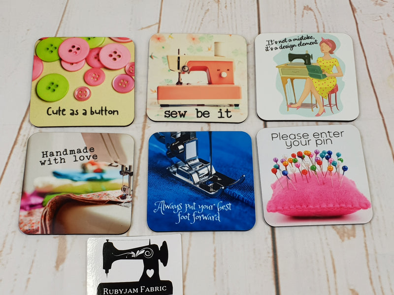 I Like Sewing and Maybe 3 People - Drink Coasters - Bespoke