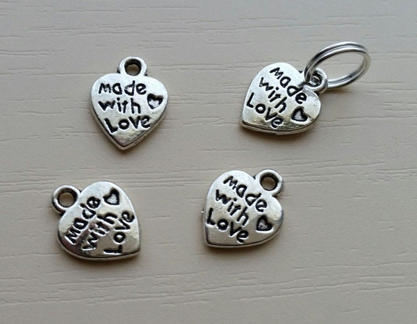4 Made with love zip zipper pull silver heart charm NCW wallet purse bag making