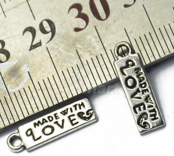 4 Made with love zip zipper pull silver charm for NCW wallet purse bag making