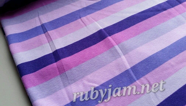 Purple Rainbow Stripes - cotton lycra - 150cm wide