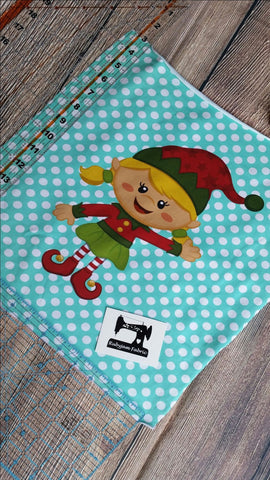 "Christmas Panel - Blonde Elf Girl on mint green organic knit panel 14"" x 15"". Sold per panel."