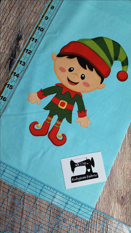 "Christmas Panel - Boy Elf on mint green organic knit panel 17"" x 10"". Sold per panel."