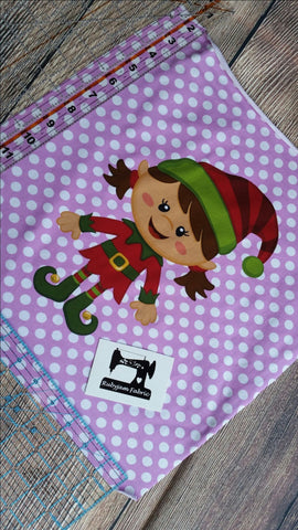 "Christmas Panel - Brunette Elf Girl on purple organic knit panel 14"" x 15"". Sold per panel."